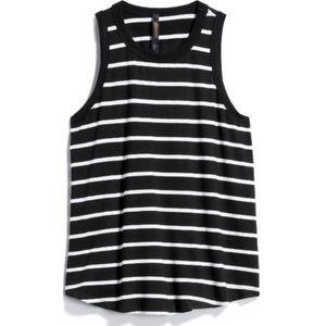 Renee C Black Knit Top white striped sleeveless S